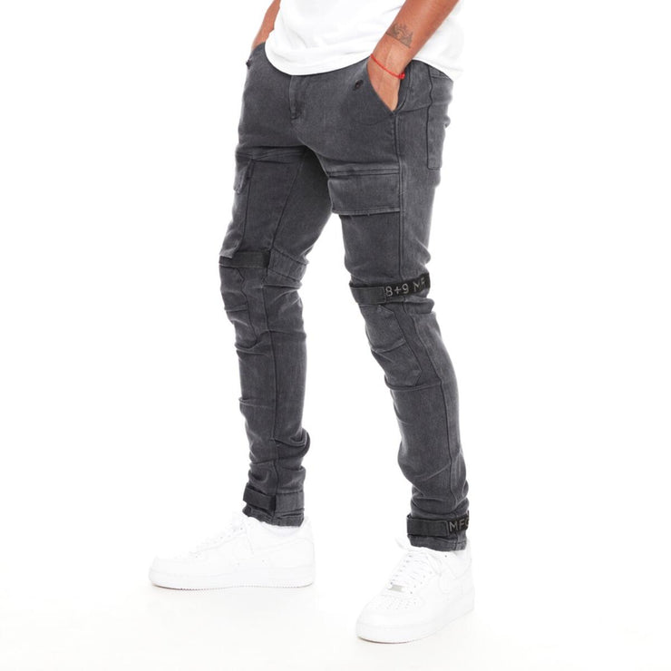 8 & 9 Clothing Strapped Up Slim Utility Pants (Black Wash/Black)