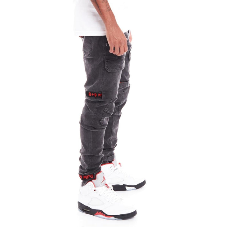 8 & 9 (Black Wash/Red Strap) Clothing Strapped Up Slim Utility Pants