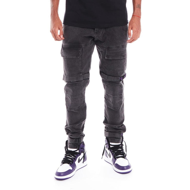 8 & 9 Clothing Strapped Up Slim Utility Pants (Black Wash/Purple)