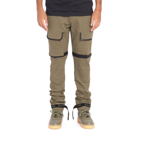 8 & 9 Clothing Strapped Up Slim Utility Pants (Olive)