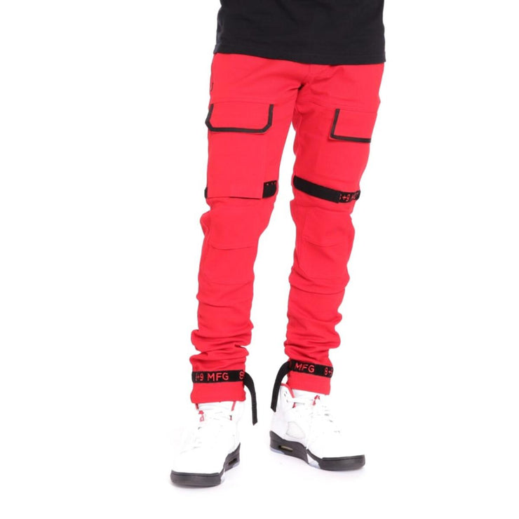 8 & 9 Clothing Strapped Up Slim Utility Pants (Red/Black)