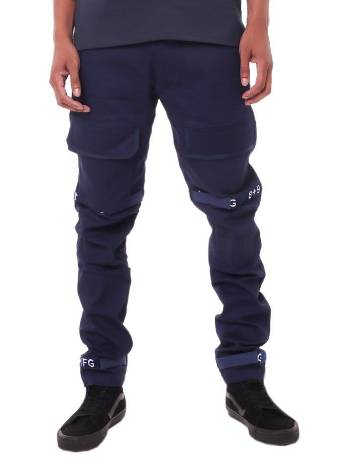 8 & 9 Clothing Strapped Up Slim Utility Pants (Navy/White)