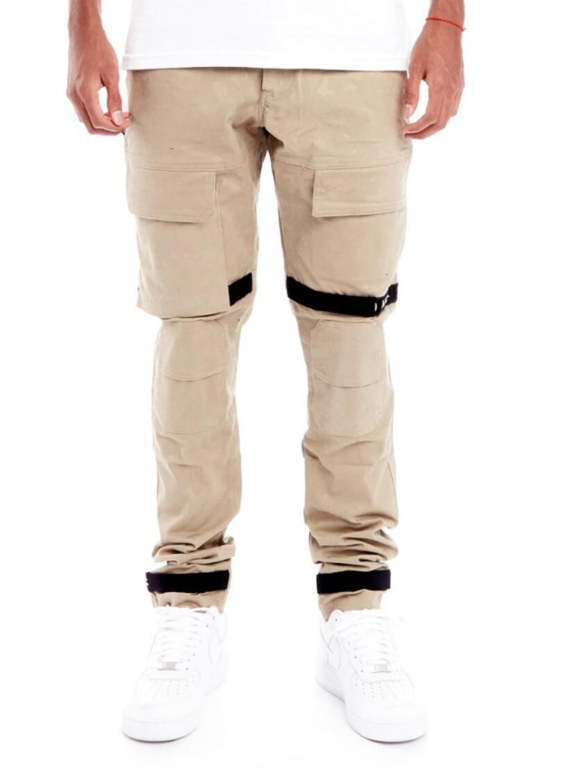 8 & 9 Clothing Strapped Up Slim Utility Pants (Sand Camo)