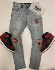Denim City Stone Blue Wash Red Leather (DNM-314)