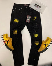 Denim City Black Wash Yellow Stones