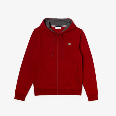 Lacoste Men's Sport Full-Zip Fleece Hoodie (Burgandy)