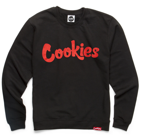 Cookies Original Logo Longsleeve Crewneck (Black/Red)