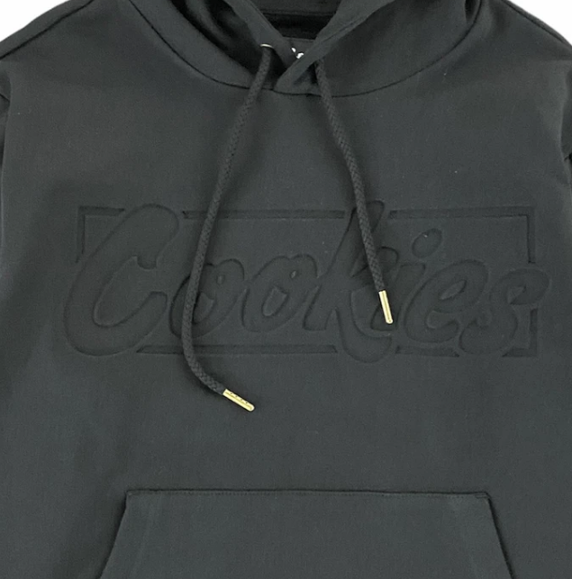 Cookies Sonoma Fleece Pullover Hoodie Quilted Textured (Black) W1