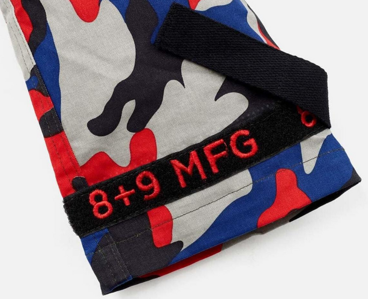 8 & 9 Clothing Strapped Up Utility Pants Mid Denim (Red/Blue/Camo)