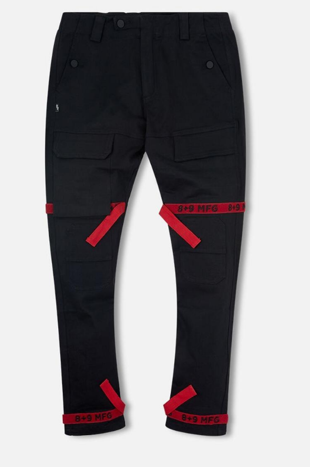 8 & 9 Clothing Strapped Up Utility Pants Mid Denim (Black/Red/Black)