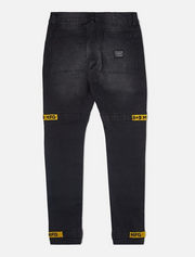 8 & 9 Clothing Strapped Up Utility Pants Black Denim/Yellow
