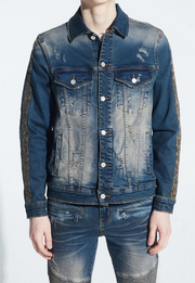 Embellish Bower Denim Jacket (Indigo Cheetah)