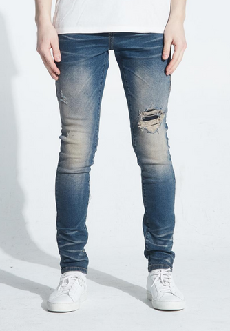 Embellish Bower Biker Denim (Indigo Cheetah)
