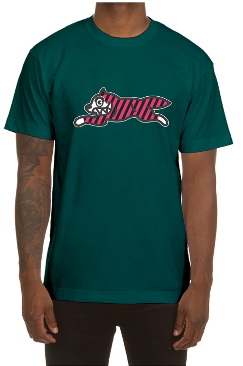 Icecream Yikes Stripes SS Tee (Forest Green)