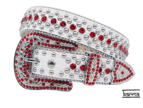 Karma Belts Rhinestone (White-Red Stones)