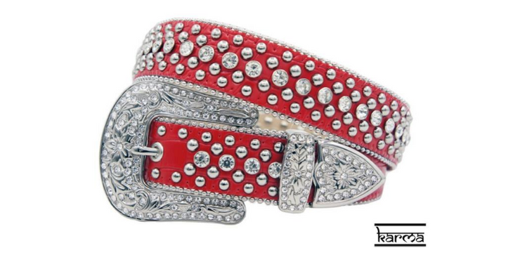Karma Belts Rhinestone Red With Silver Stones