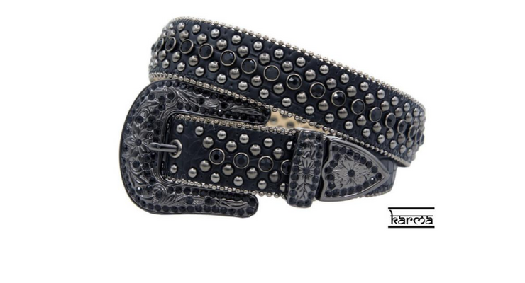 Karma Belts Rhinestone Black With Black Stones