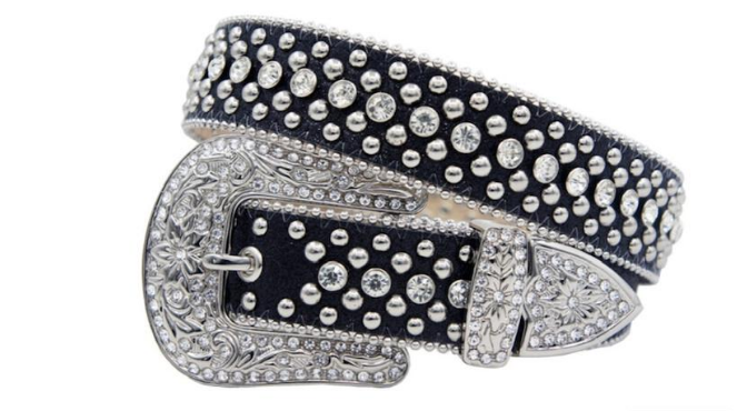 Karma Belts Rhinestone Black With Silver Stones