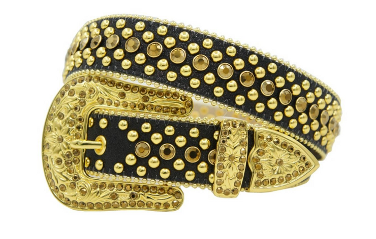 Karma Belts Rhinestone Black With Gold Stones