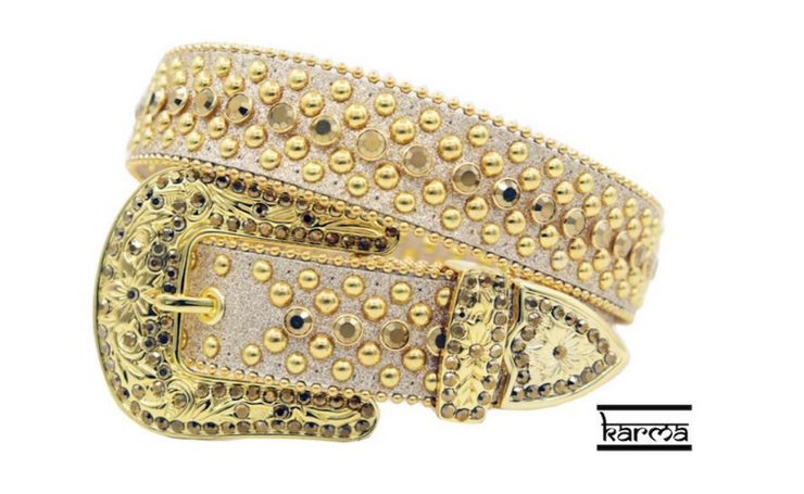 Karma Belts Rhinestone Gold Sparkle With Gold Stones