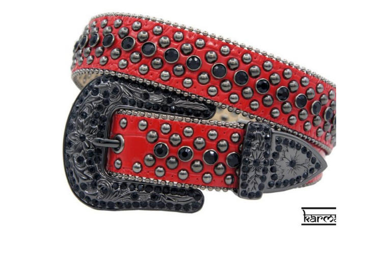 Karma Belts Rhinestone Red/Black