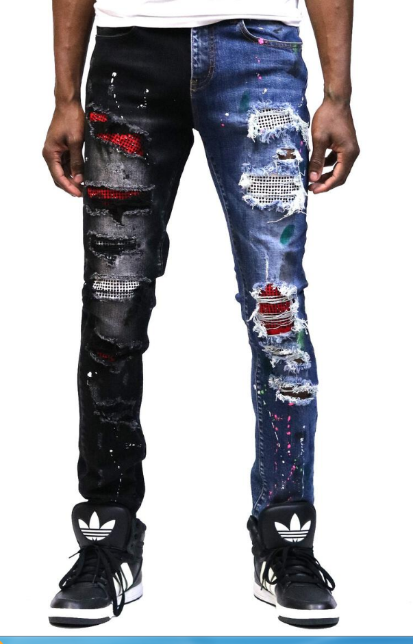 Kleep Half & Half Stoned Denim (Red/Black)