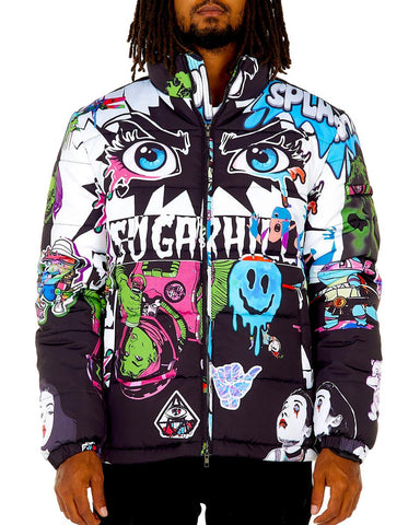 Sugar Hill Psycho Puffer Jacket (Black-White)