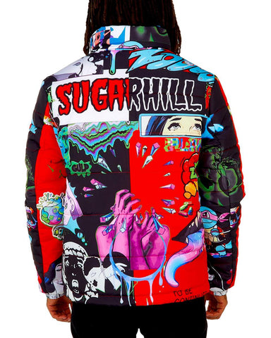 Sugar Hill Psycho Puffer Jacket (Red-Black)