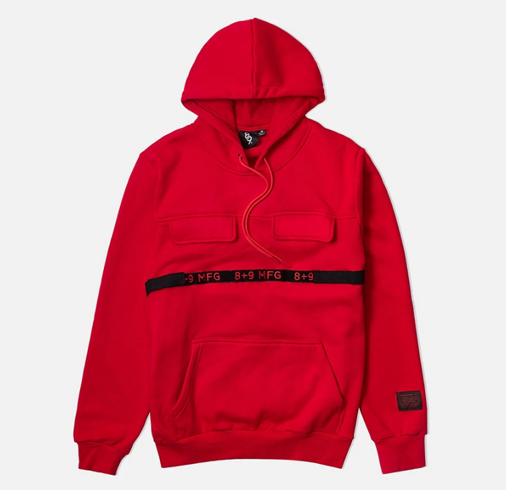 8 & 9 Strapped Up Hoodie (Red)