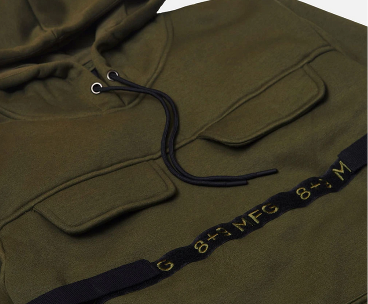 8 & 9 Strapped Up Hoodie (Olive)