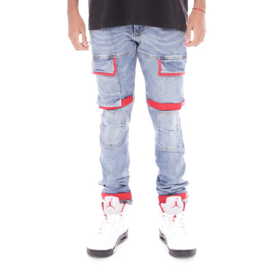8 & 9 Clothing Strapped Up Utility Pants Mid Denim Red