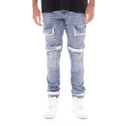 8 & 9 Clothing Strapped Up Utility Denim Jeans Light Blue
