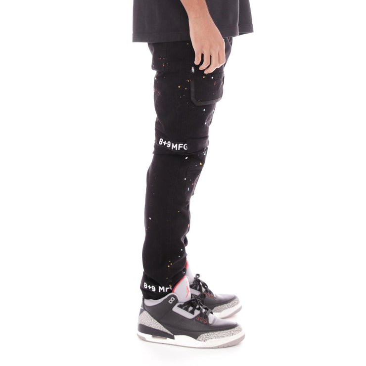 8 & 9 Clothing Strapped Up Utility Pants Splatter (Black-White-Splatter)