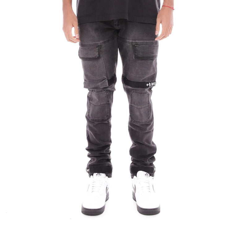 8 & 9 Clothing Strapped Up Utility Denim Jeans (Black Ash-White)