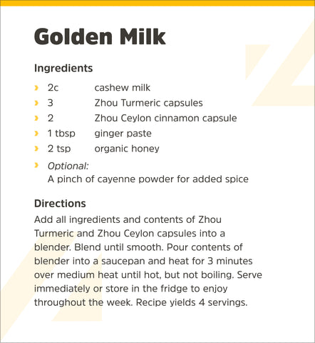 Zhou Nutrition Golden Milk Recipe