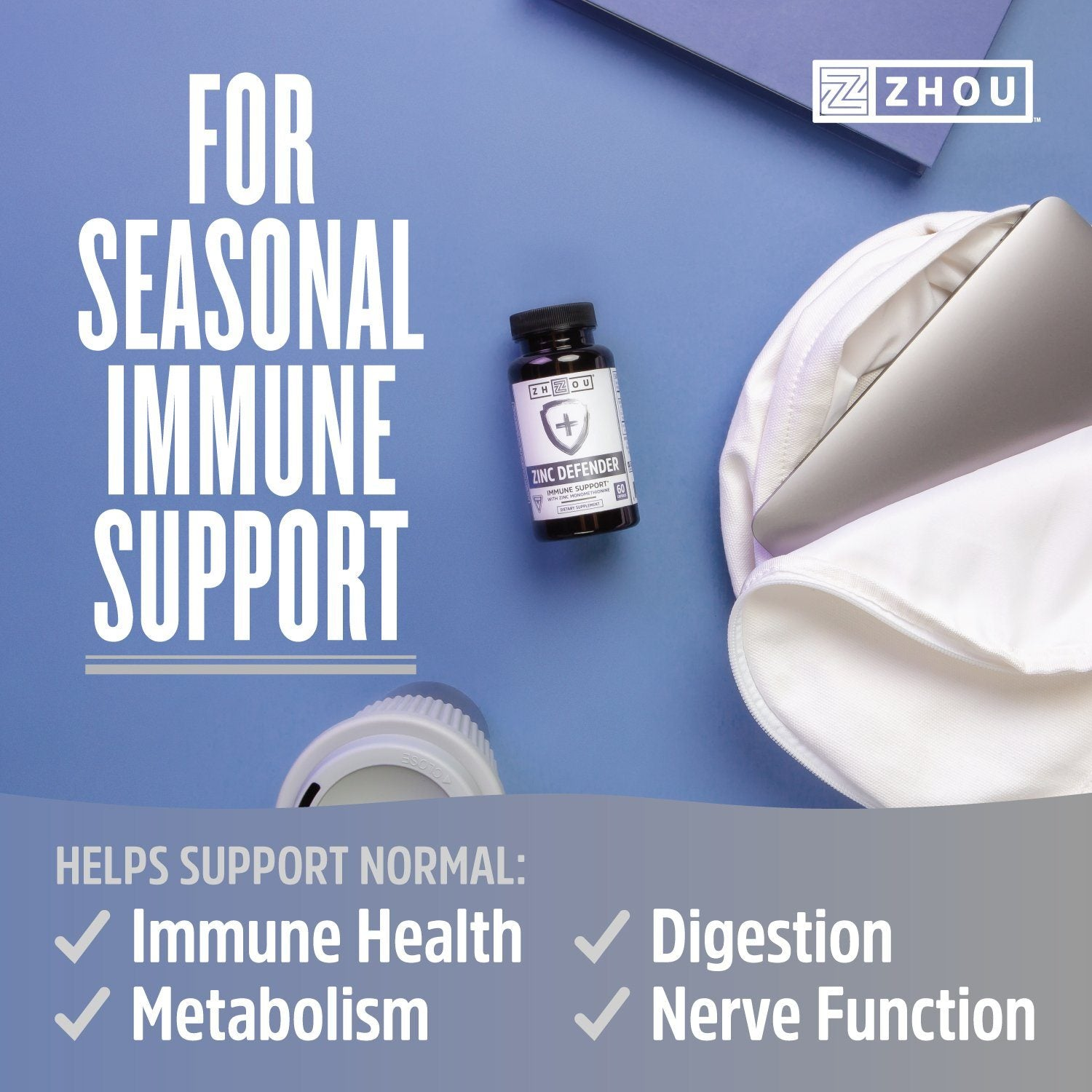 Helps support normal immune health, metabolism, digestion, and nerve function.
