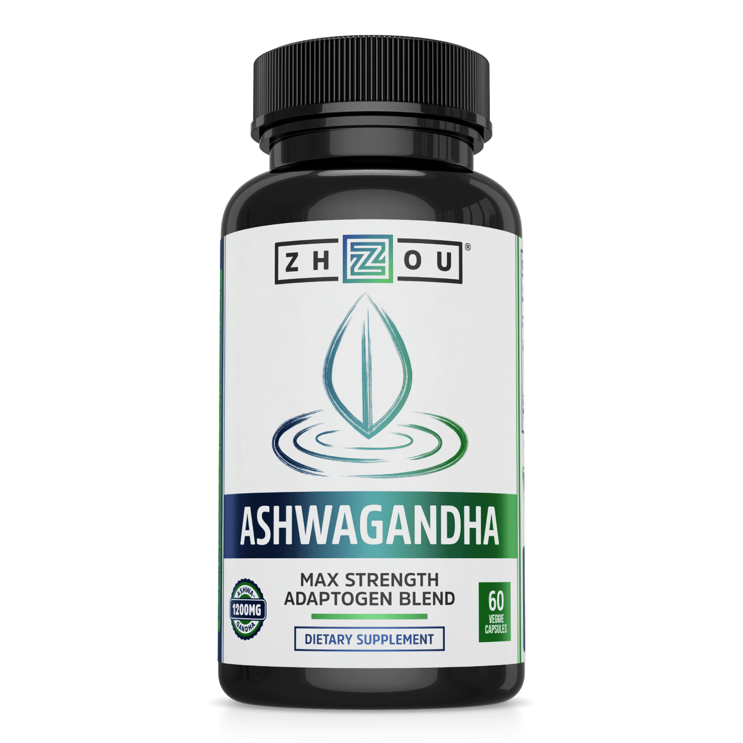 Zhou Nutrition Ashwagandha Adaptogen Blend. Bottle front.