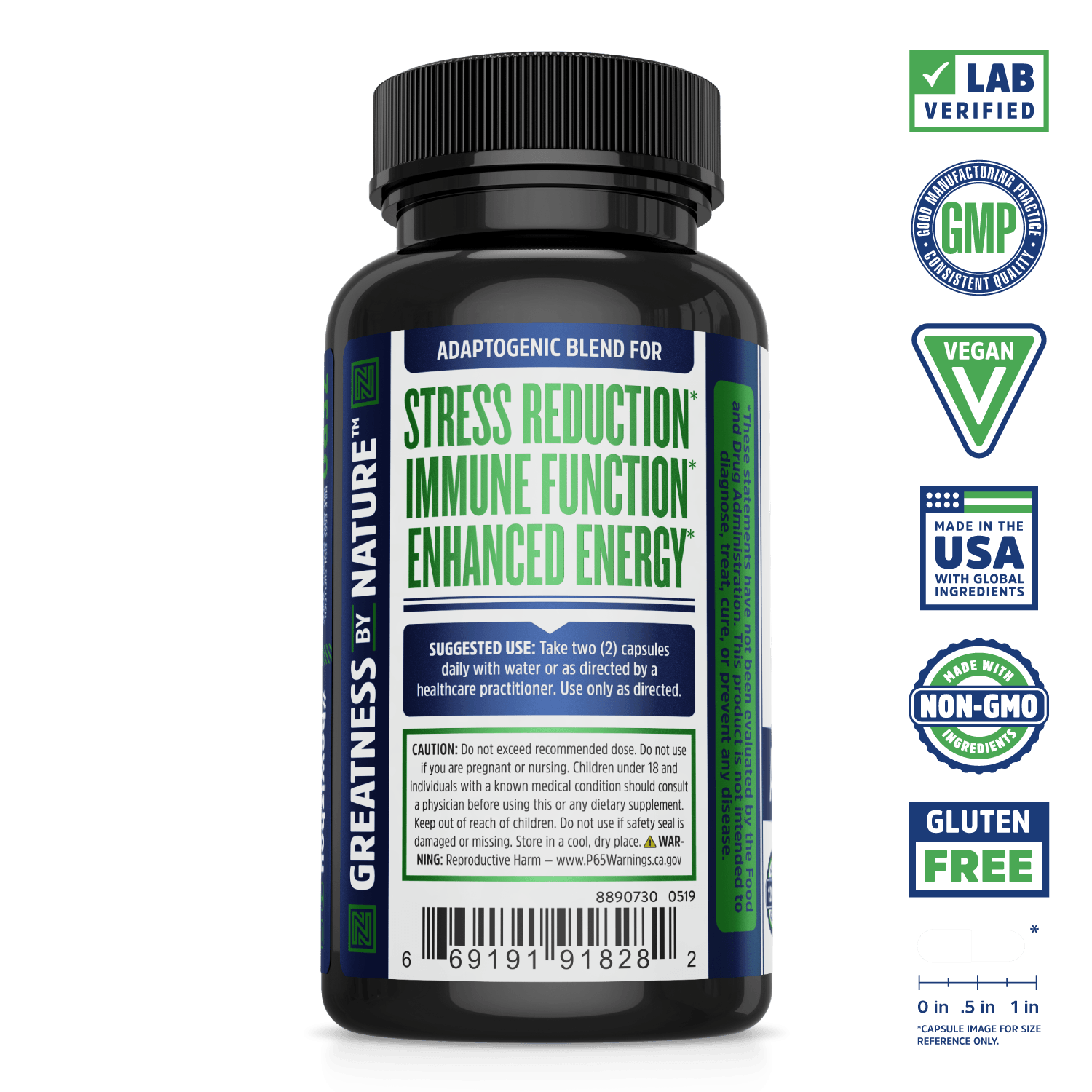 Zhou Nutrition Ashwagandha Supplement. Lab verified, good manufacturing practices, vegan, made with non-GMO ingredients, made in the USA with global ingredients, gluten free.
