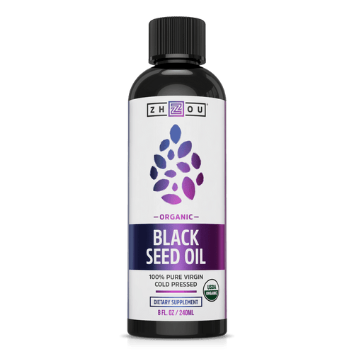 Organic, Cold-Pressed Black Seed Oil From Zhou Nutrition. Bottle front.