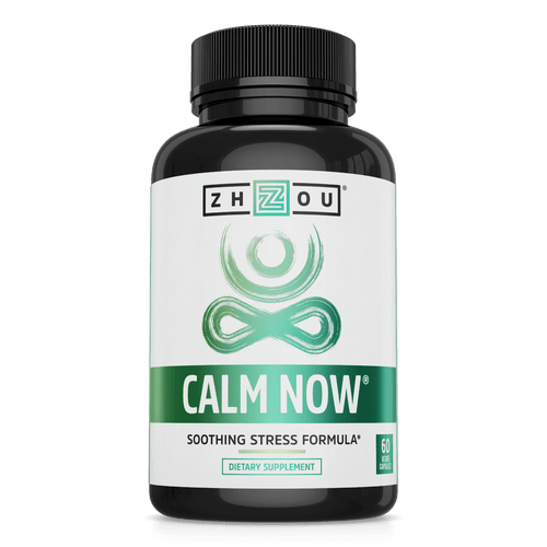 Calm Now Soothing Stress Formula Zhou Nutrition. Bottle front.
