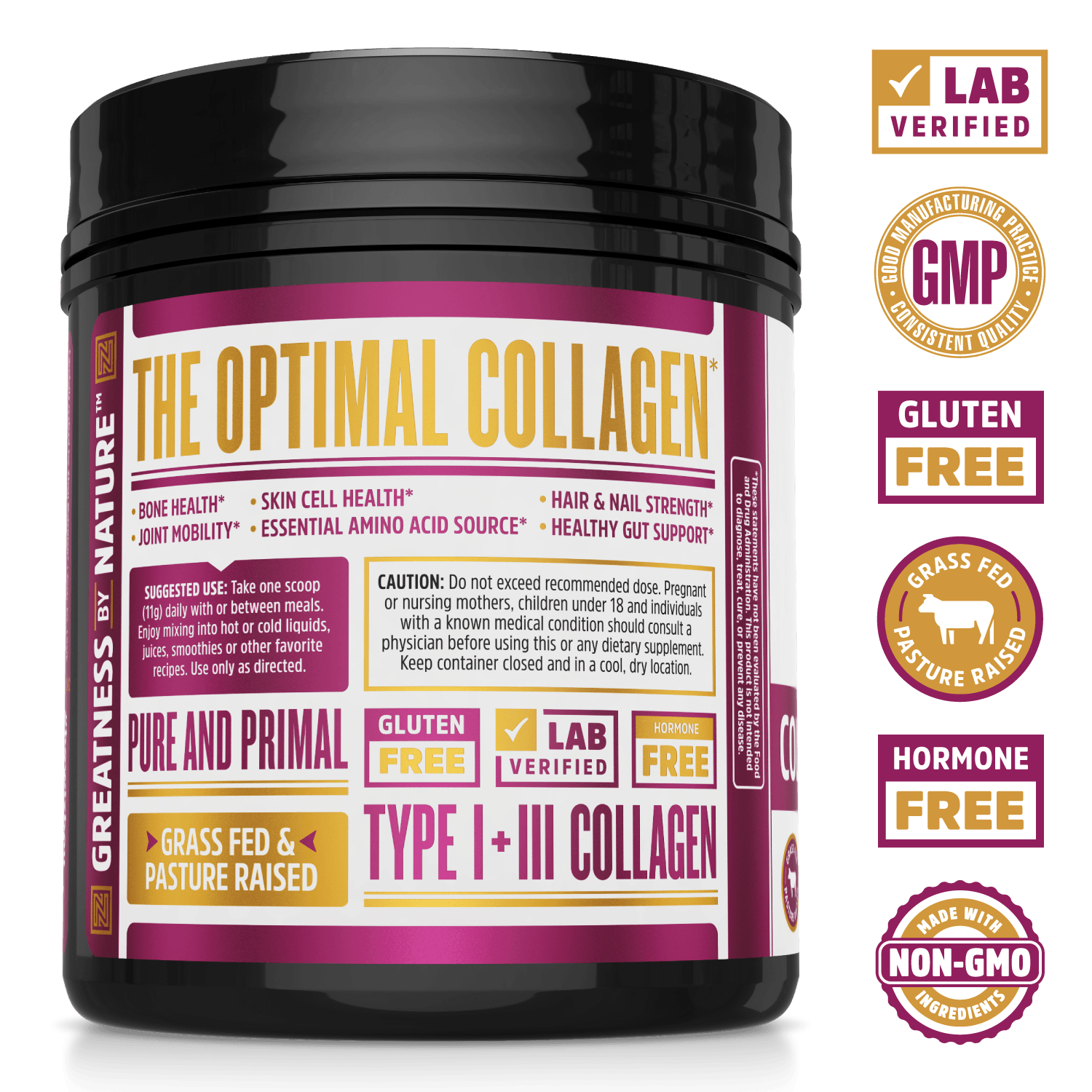 Collagen Peptides Pure Protein Power From Zhou Nutrition. Bottle side. Lab verified, good manufacturing practices, gluten free, grass fed pasture raised, hormone free.