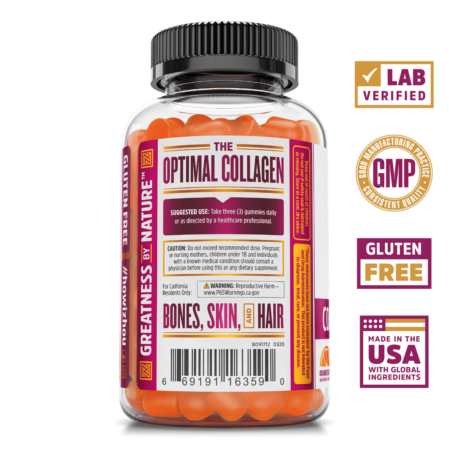 Collagen Peptides gummy supplement from Zhou Nutrition.  Lab verified, good manufacturing practices, gluten free, made in the USA with global ingredients