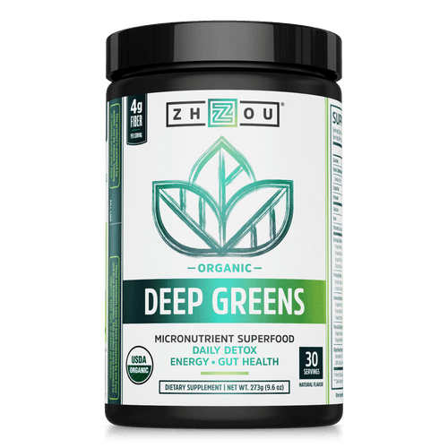 Zhou Nutrition Deep Greens Organic Micronutrient Superfood Powder. Bottle front.