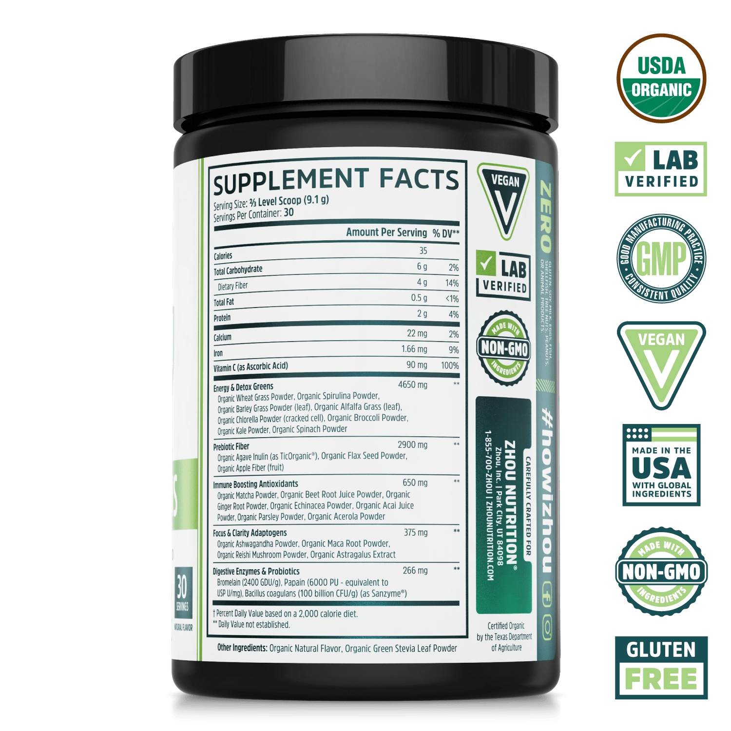 Zhou Nutrition Deep Greens Organic Superfood Powder for Daily Detox, Energy & Gut Health. Bottle side. USDA organic, lab verified, good manufacturing practices, vegan, made in the USA with global ingredients, made with non-GMO ingredients, gluten free.