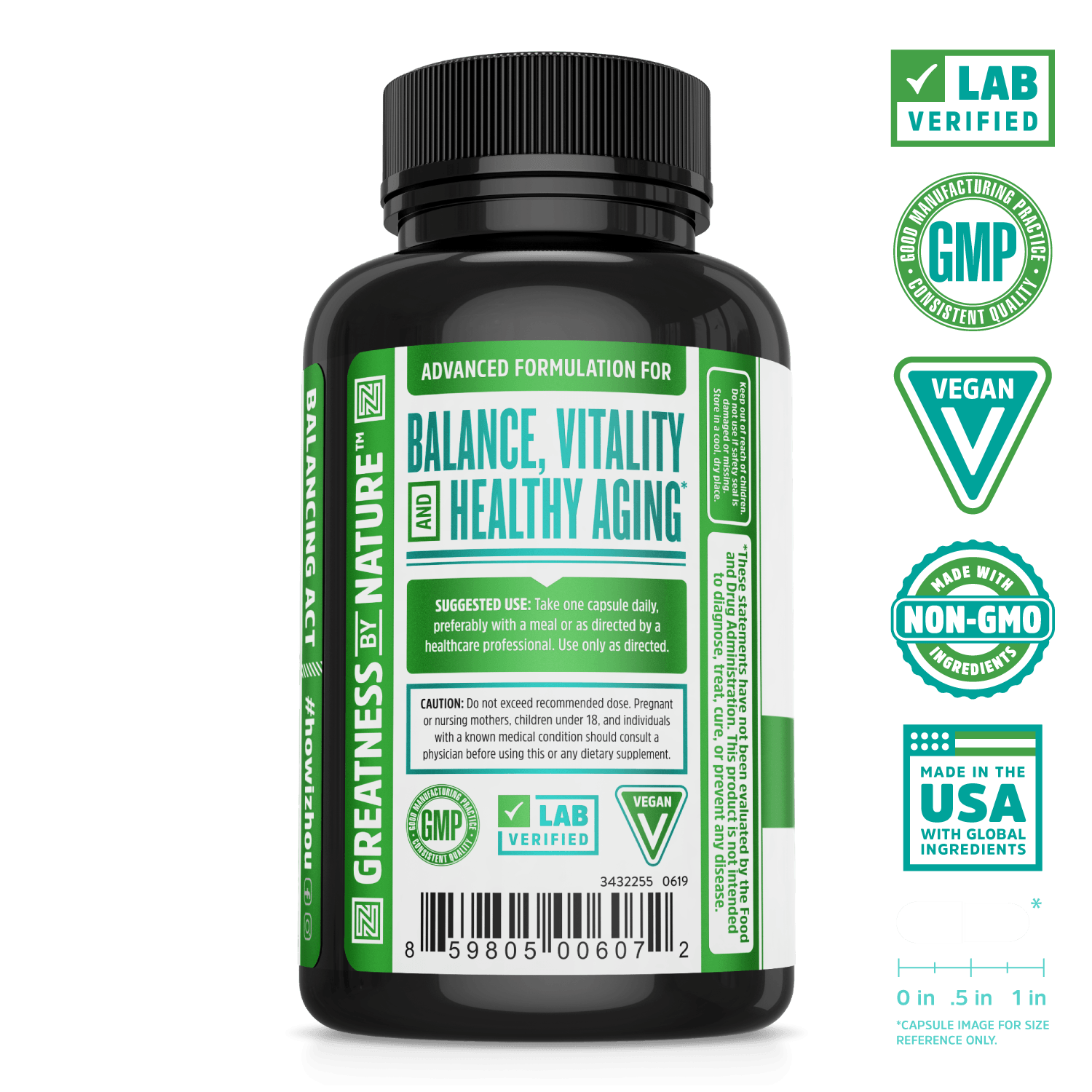 Hormonal Balance Complex with activated broccoli extract from Zhou Nutrition. Bottle side. Lab verified, good manufacturing practices, vegan, made with non-GMO ingredients, made in the USA with global ingredients.