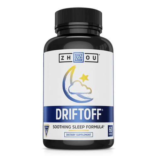 Driftoff Soothing Sleep Formula from Zhou Nutrition. Bottle front.