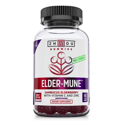 Elder-Mune Sambucus Elderberry Gummies. Bottle front.
