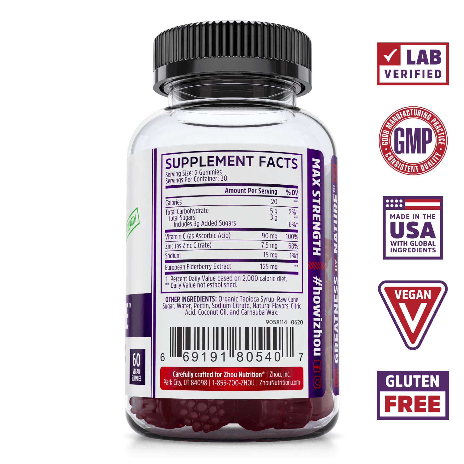 Elder-Mune Elderberry Supplement Gummies from Zhou Nutrition. Bottle side. Lab verified, good manufacturing practices, made in the USA with global ingredients, vegan, gluten free.