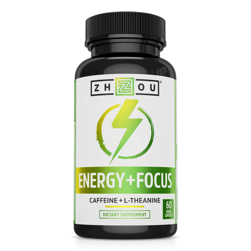 Zhou Nutrition Energy + Focus Caffeine and L-theanine. Bottle front.
