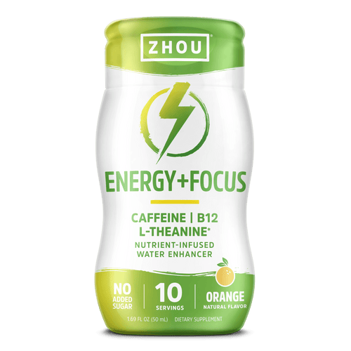 Zhou Nutrition Energy + Focus water enhancer, orange flavor. Bottle front.